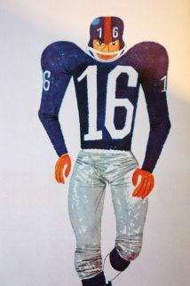 "Miroslav Sasek, ""This is New York"" showing an American footballer"