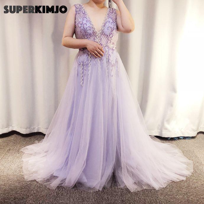 Plus Size Prom Dresses Long Lavender Beaded Lace Applique Purple Prom Gown Vestido De Longo Robe De Soiree In 2020 Prom Dresses Evening Dress Floor Length Lavender Prom Dresses