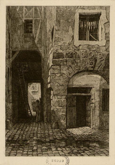 Paris 1er - Rue Saint-Eloi, 1853, disparue lors de la reconstruction de la Préfecture de Police - Enseigne des 3 Couronnes.
