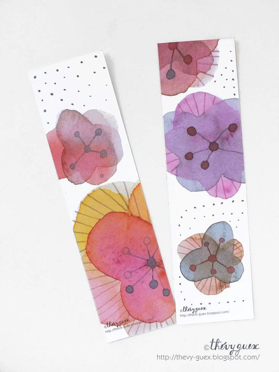 Flowers and Dots Watercolor Bookmarks by thevysherbarium on Etsy, $4.50