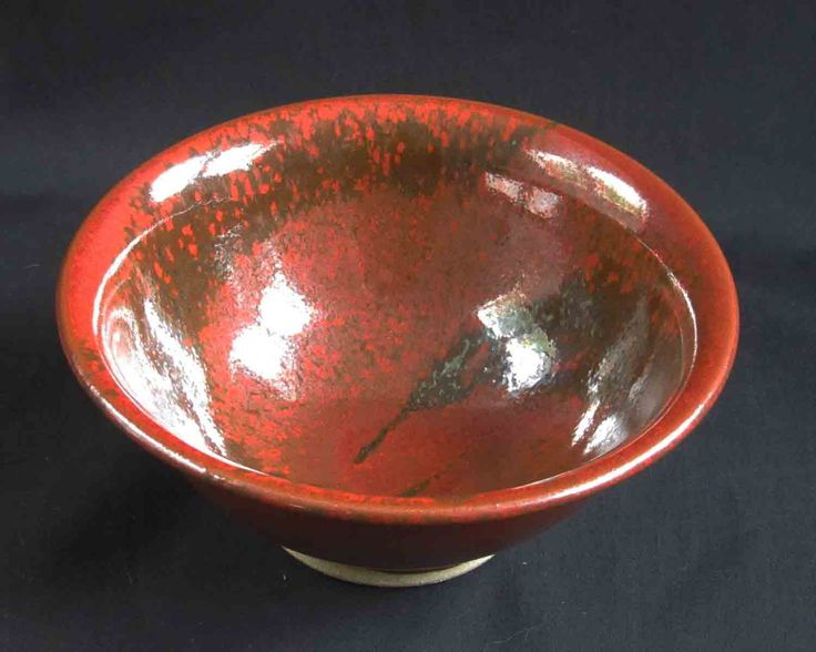 Small red oilspot bowl
