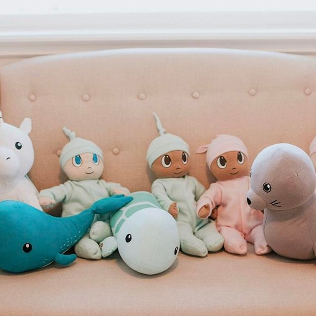 Our line up of products! We have Cupcake the Unicorn, Norman the Narwhal, Tucker the Sea Turtle, Makana the Hawaiian Monk Seal, and the baby dolls Lucy, Shoshana, Jonah and Thomas! They are all made of GOTS certified organic cotton and dyed with vegetable based dyes. They're filled with organic stuffing and all natural buckwheat hulls. And for every one sold we donate $1 to a different charity or non-profit. We will be coming out with new products this year! Visit our website to learn more…