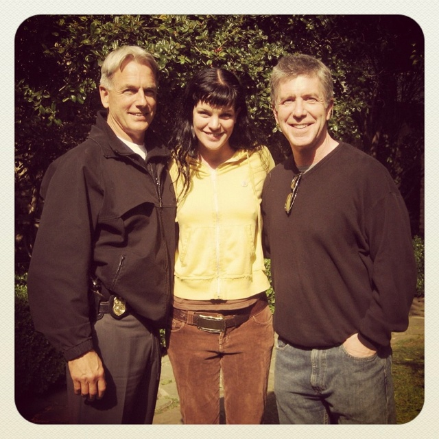 Mark Harmon, Pauley Perrette, and Tom Bergeron from Tom Bergeron's twitter.