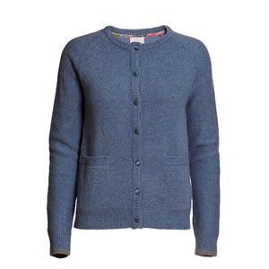 SUPERSOFT cardigan, light blue melange. The classic and usable cardigan to be worn with every outfit. Made in sustainable wool from our Italien supplier. Beautiful details with Liberty fabric on the buttons.
