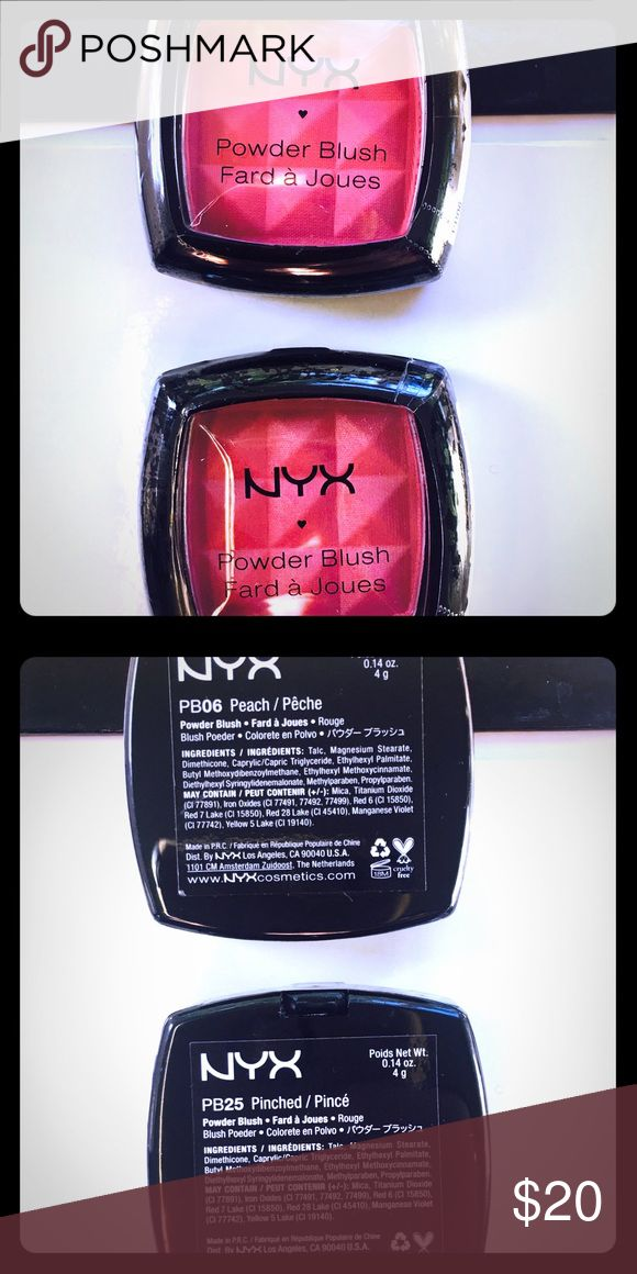 NYX Powder Blush Bundle: Peach & Pinched NYX Powder Blush Bundle: Peach & Pinched. Our pressed powder blush delivers sheer silky color that glides on easily blends beautifully and creates a natural glow. The formula is richly-pigmented and lasts for hours. All shades contain the following unless otherwise noted: Talc, Magnesium Stearate, Dimethicone, Caprylic/Capric Triglyceride, Ethylhexyl Palmitate, Butyl Methoxydibenzoylmethane, Ethylhexyl Methoxycinnamate, Diethylhexyl…