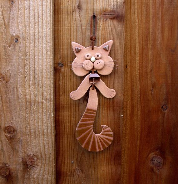 Ceramic Cat Hanging Mobile with Striped tail, Wall Hanging by SallysClay.com