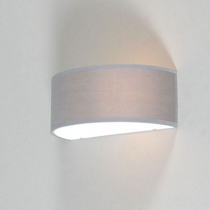 Wall Lamp Drum Half Round Grey