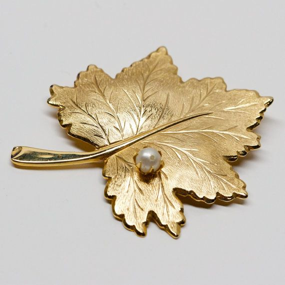 Vintage Sarah Coventry Leaf Brooch with Faux by TwiceBakedVintage, $13.00