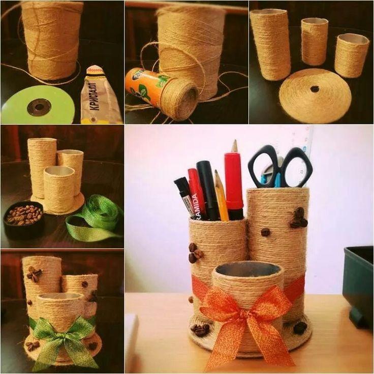Tubos de carton o latas recicladas,forradas con estambre, listón o hilo de yute