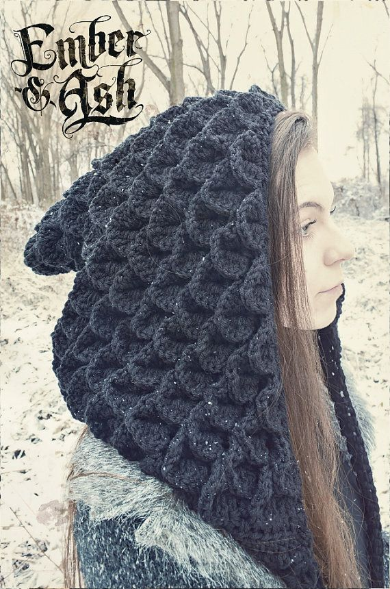 This listing is for the Dragon Scale Nomad Hood custom made by Ember and Ash. A chunkier, heavier spin off from the Nomad Hood made in the scale stitch. This hood is attached to long crocheted extensions to wrap around your neck like a scarf. They measure 105 inches from end to end. This hood is made from soft, 100% acrylic yarn. Various color options available!  CARE INSTRUCTIONS: ~ Hand Wash Only ~ Air Dry