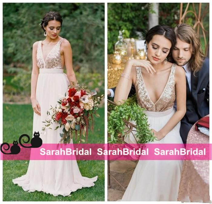 Wholesale cheap wedding dresses uk, colored wedding dresses and design your own wedding dress on DHgate.com are fashion and cheap. The well-made 2016 hot sale wedding dresses with rose gold sequins metallica v-neck top bohemian fashion style long pleated skirt chiffon bridal gowns new sold by sarahbridal is waiting for your attention.