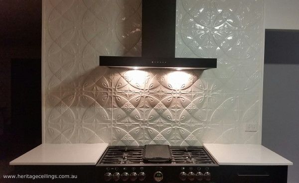 """Pressed metal splashback - Camellia style. Panels are budget priced yet create a million dollar """"look"""". To find out more about this design see: http://www.heritageceilings.com.au/tempat/camellia.php"""