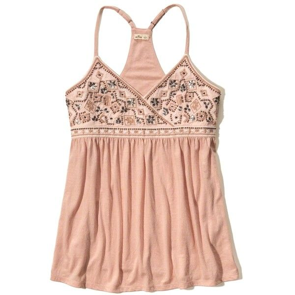 Hollister Beaded Embroidered Crossover Tank ($17) ❤ liked on Polyvore  featuring tops, embellished