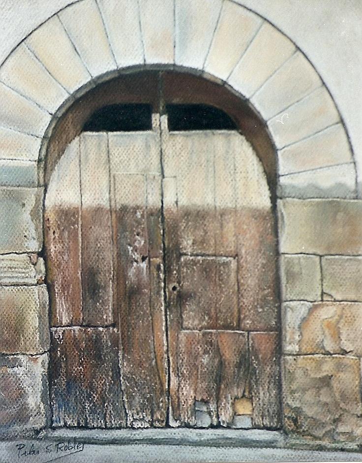 Pilar S. Robles. Puerta Caldas (Barcelona). Pastel. 48X43