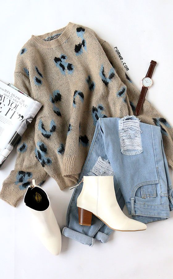 Khaki Leopard Print Ribbed Trim Sweater Season : Fall Pattern Type : Leopard Items : Pullovers Color : Khaki Types : Loose Sleeve Length : Long Sleeve Neckline : Crew Neck Material : Acrylic Styles : Casual