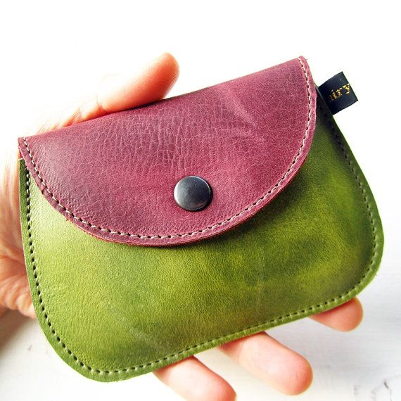Handmade leather coin purse, MINNIE in Soft plum, Lime by Fairysteps £12.00