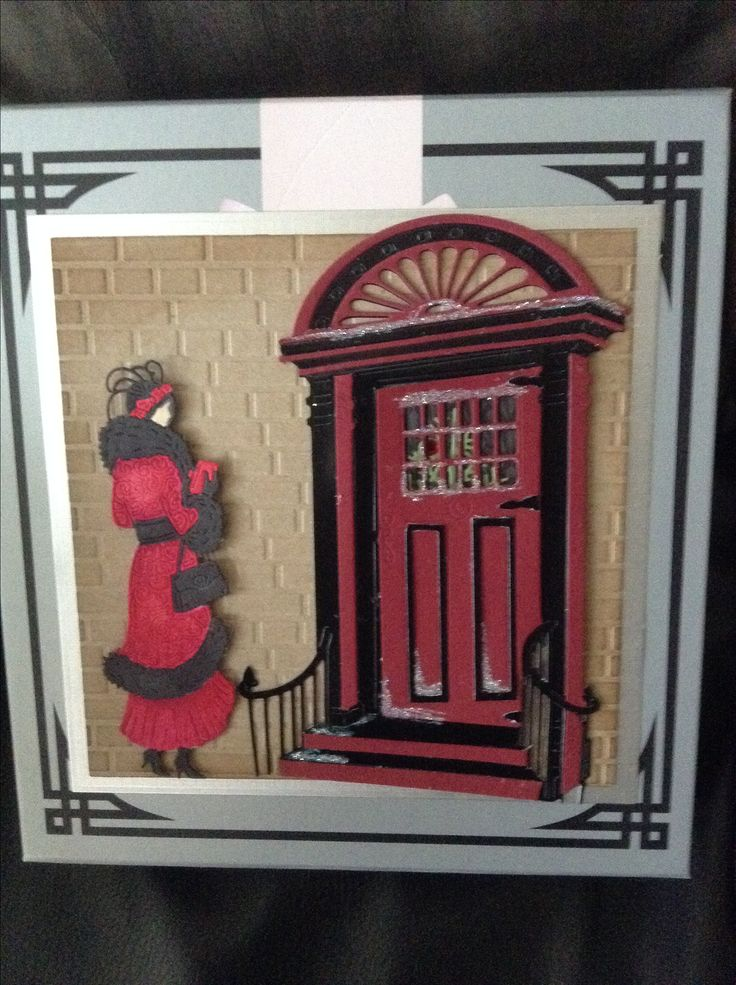 I used tattered lace art deco door and lady with brick embossing folder to up cycle this box