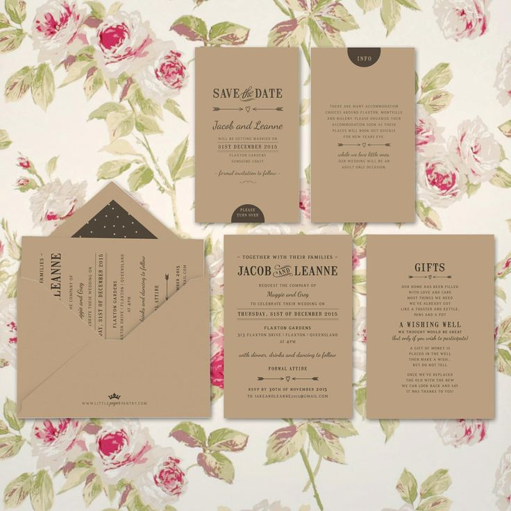 A6 wedding invitation printed on recycled kraft card with a rustic feel. Envelope lined with black polkadot pattern.
