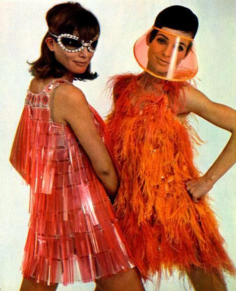 This showcases a look from Paco Rabanne in 1966. He was a designer that was known for garments made from geometric plastic shapes held with metal rings. He would create very eccentric designs that were out of the box.