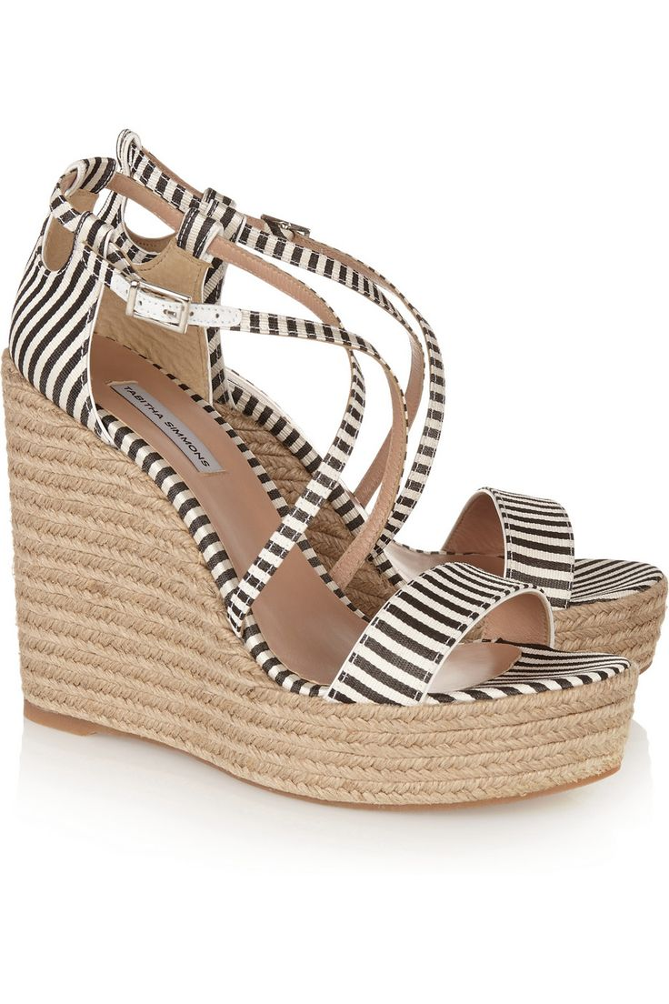 Tabitha Simmons Jenny striped silk espadrille wedge sandals €375