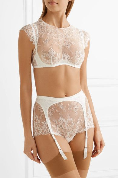 Agent Provocateur - Ismeralda Leavers Lace And Stretch-tulle Suspender Belt Briefs - White - 3