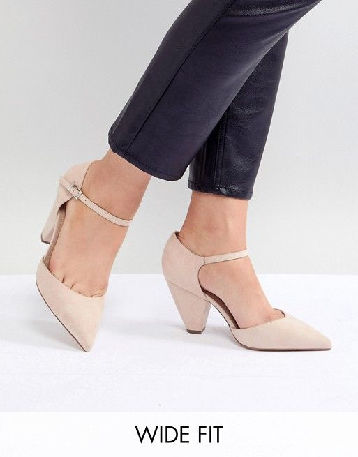 e29c3a9101f ASOS DESIGN Speaker Extra Wide Fit Pointed Heels  45.00