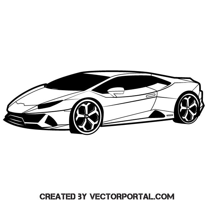 White Luxury Sports Car: Luxury Sports Car Vector Graphics