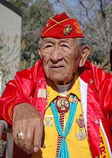"""World War II """"Windtalker"""" - Dan Akee an actual Navajo Code Talker of the Diné Nation. He served with the 25th Marine Regiment, 4th Marine Division from 1943-1945 as a Navajo Code Talker.  Sergeant Major Dan Akee also served at Iwo Jima, Saipan and Tinan, Marshall Islands."""