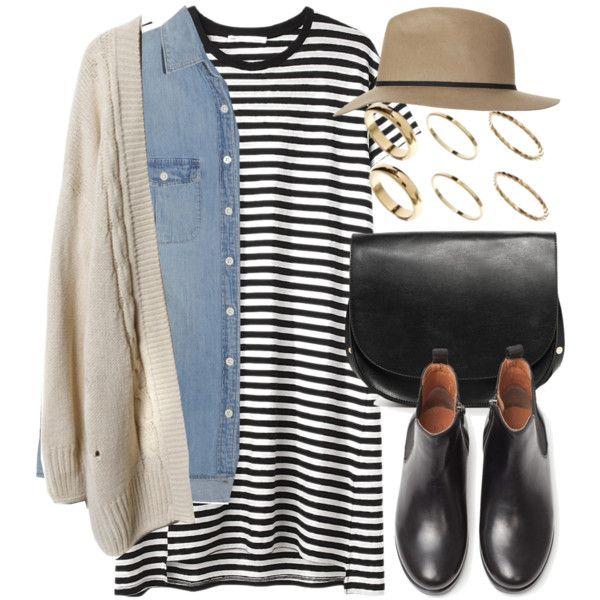 crème cardigan, light denim shirt, striped t shirt dress, tan hat, black Chelsea boots + accessories