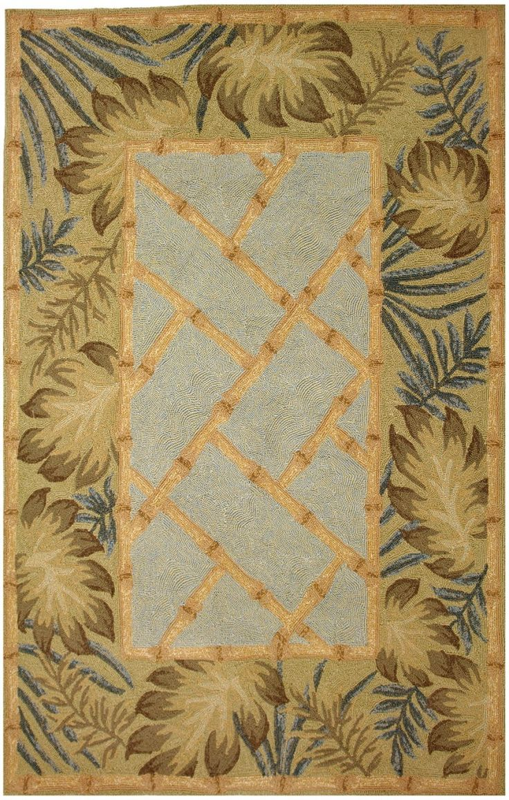 tropical palms and bamboo 8 x 10 rug
