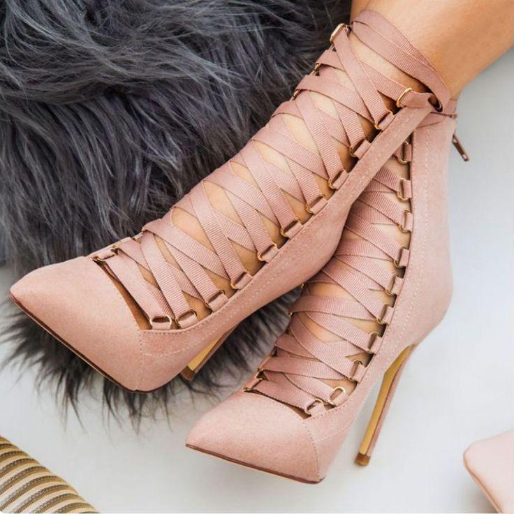De mode de Qualité Haute Talons Rivet boucle Femmes Sandales Gênes Sandale Stiletto Bottines à Lacets Pompes de Femmes Chaussures rose noir dans Pompes de femmes de Chaussures sur AliExpress.com | Alibaba Group