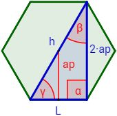 Inscribimos un triángulo rectángulo en el hexágono.