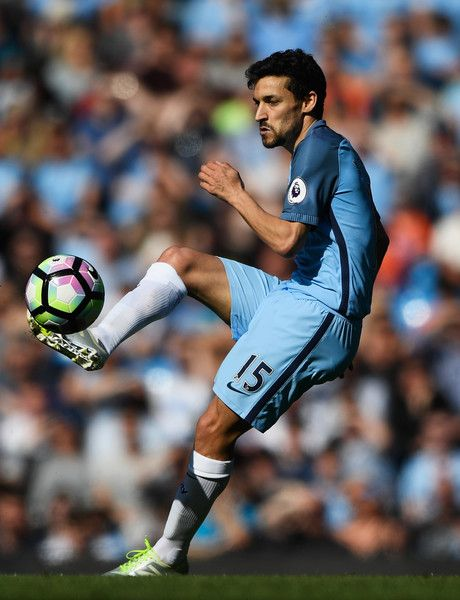 Jesus Navas of Manchester City in action during the Premier League match between Manchester City and Hull City at Etihad Stadium on April 8, 2017 in Manchester, England.