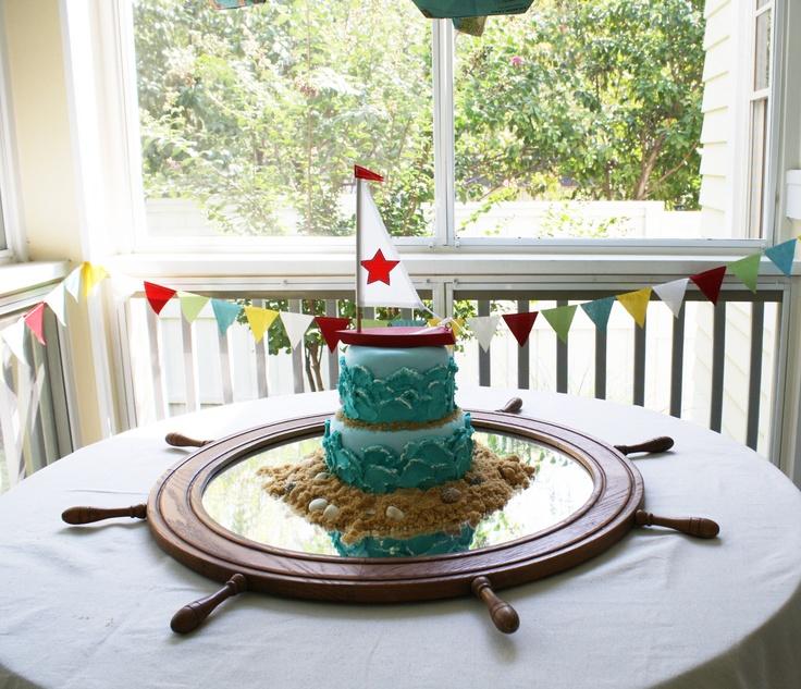 Nautical 4th Birthday Cake - boat Sailing Party
