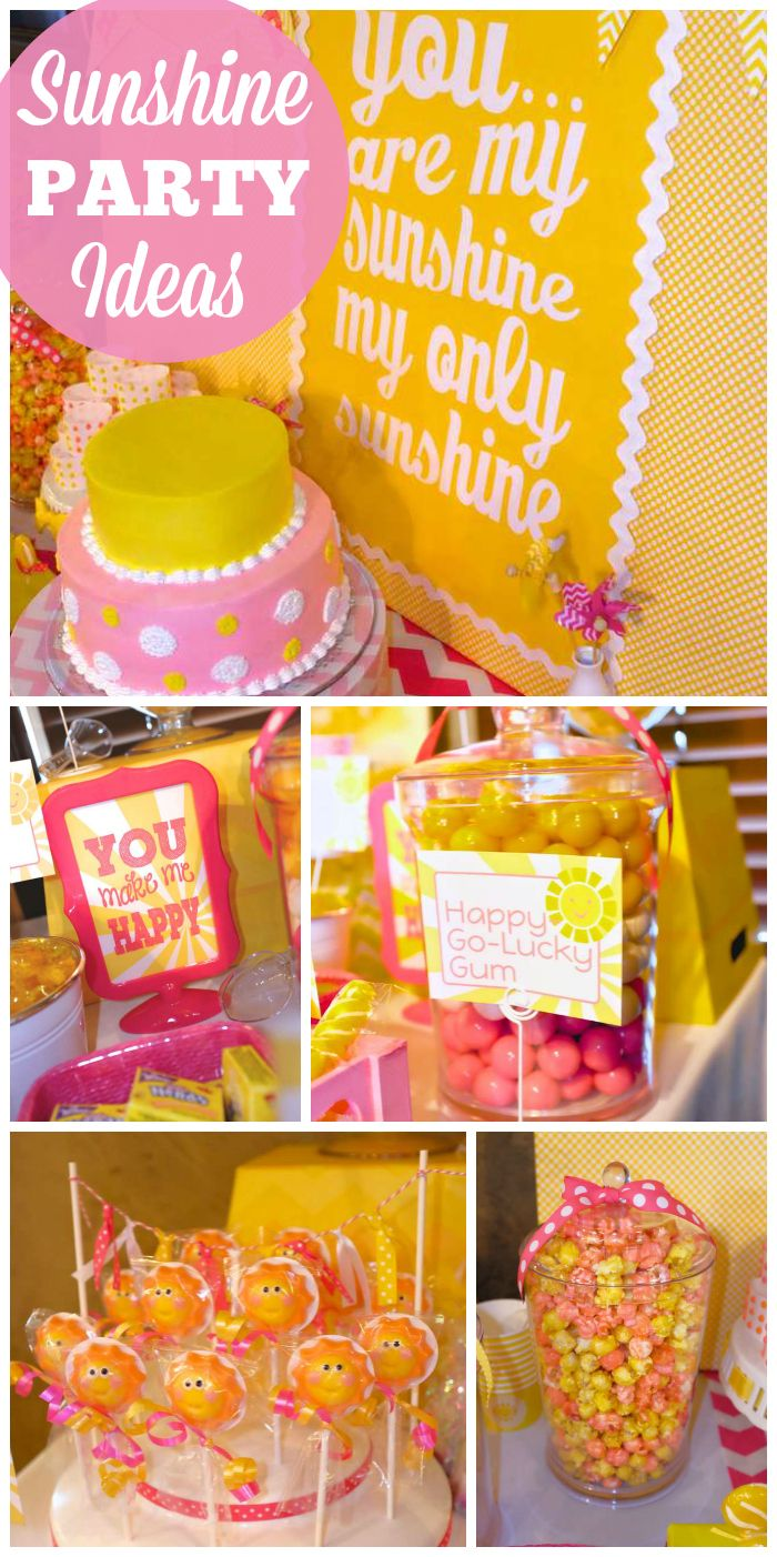 A sunshine themed girl first birthday party in yellow, pink and white with a candy buffet and chocolate fountain!  See more party planning ideas at CatchMyParty.com!