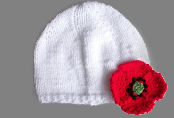 Baby Poppy Hat- Hand Knitted