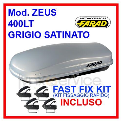 FARAD - BOX/BAULE TETTO AUTO ZEUS N15 400LT GRIGIO SATINATO CON FISSAGGIO RAPIDO
