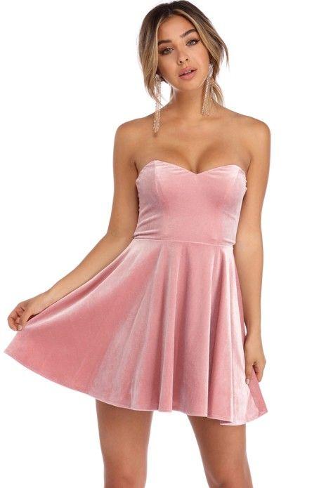 Kiera Pink Velvet Strapless Party Dress | WindsorCloud