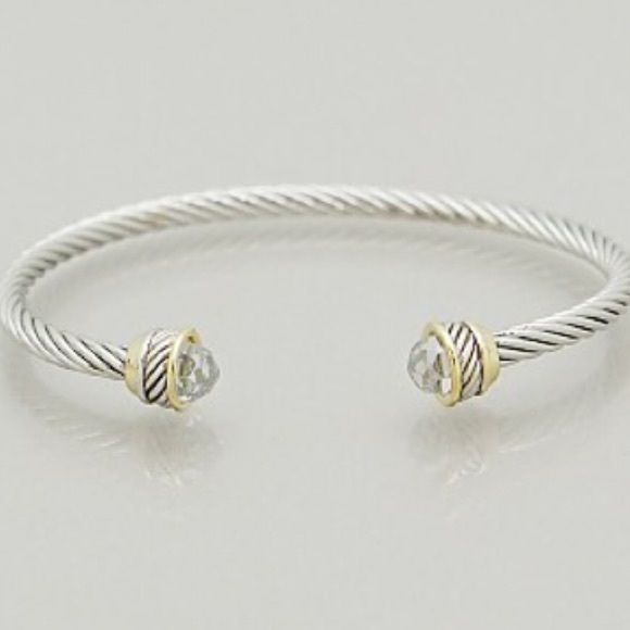 cable cuff bracelet Brand new with clear crystal accents on each end- I have large wrists and this fits me fine Jewelry Bracelets
