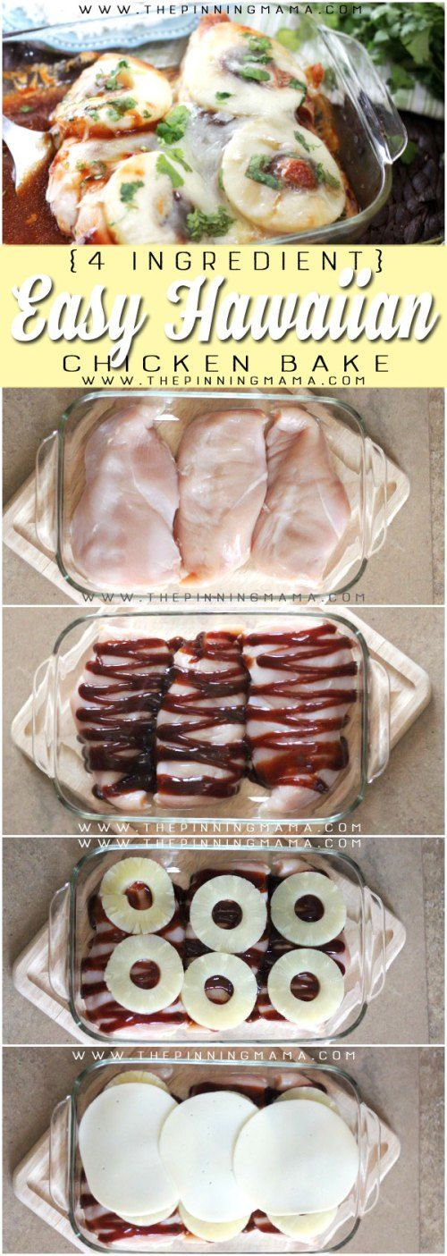 Hawaiian Chicken Bake Recipe - Only 4 ingredients and 4 steps to get it made and…