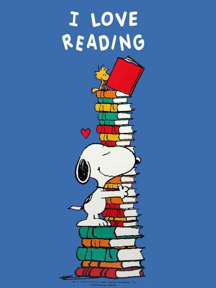 Snoopy loves reading