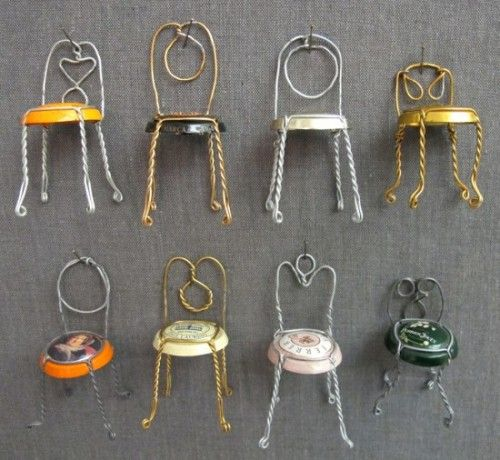 Tiny Wire Chairs Made With Champagne Caps and Wires