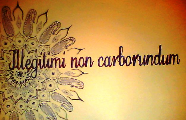 Illegitimi non carborundum = Don't let the bastards grind you down.