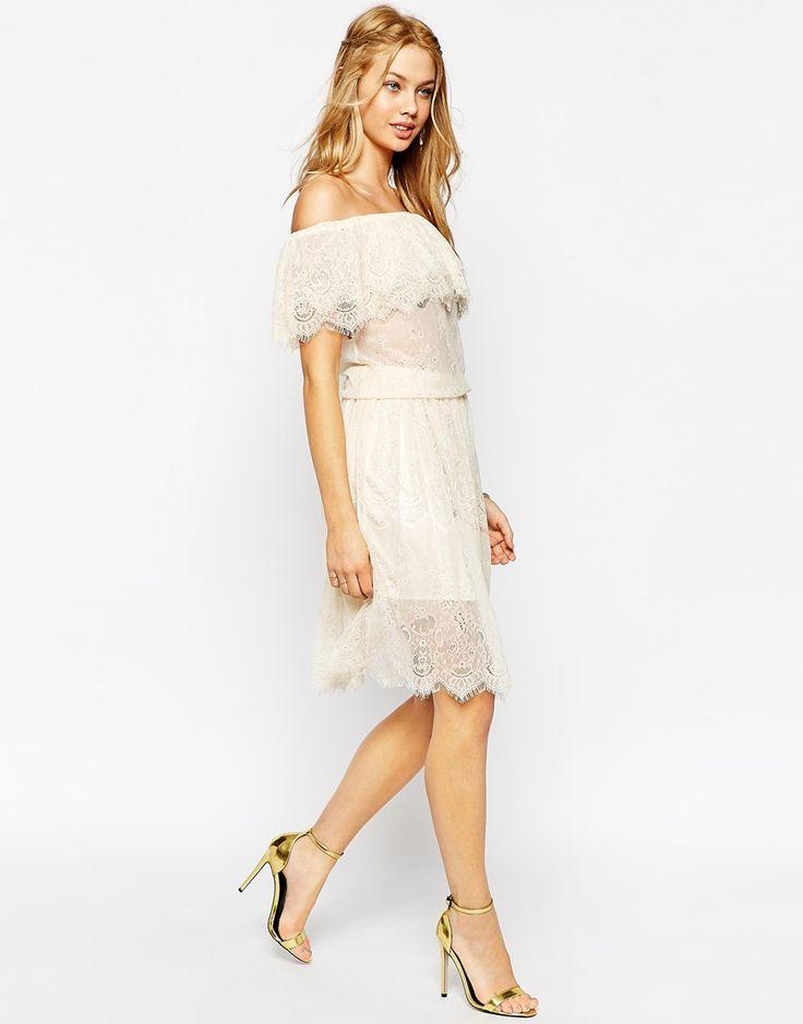 Image 4 ofDarccy Vintage Boho Lace Off Shoulder Midi Dress