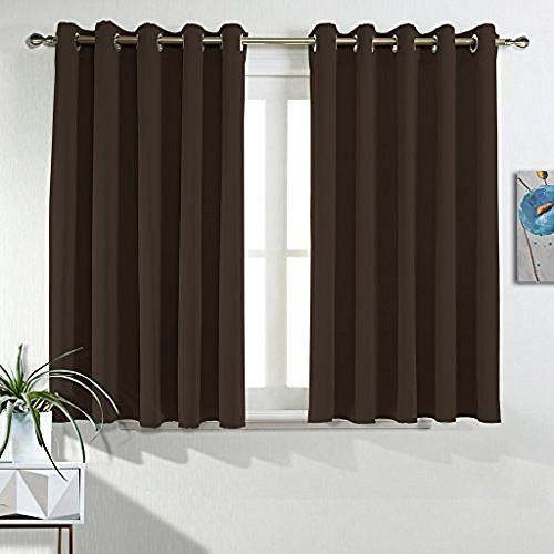 Best Home Fashion - Large rideau thermique isolant et occultant à œillets de qualité premium - 200cm de largeur x 229 cm de longueur - Marron chocolat