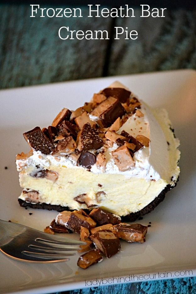 Want to serve something cold and creamy other then ice cream?  That's what this Frozen Heath Bar Cream Pie is.  With tons of toffee inside and out.