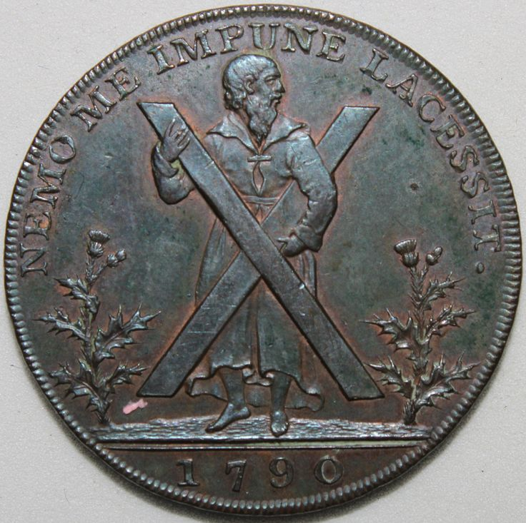1790 edinburgh halfpenny token tokens km coins