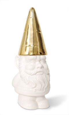 gnome cookie jar : Imm Living, Bottle Open, Gnomes Cookies, Gardens Gnomes, Cookie Jars, Gold Gnomes, Container Design, White Porcelain, Cookies Jars