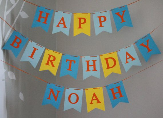 Happy Birthday banner, Personalized Happy Birthday Banner, Custom Birthday Banner, Boy Birthday Banner, Blue Orange Birthday Banner