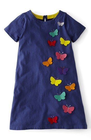 Mini Boden Appliqué Cotton Dress (Toddler Girls, Little Girls